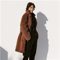 B&L 'Rita' Teddy Fur Coat - Cinnamon