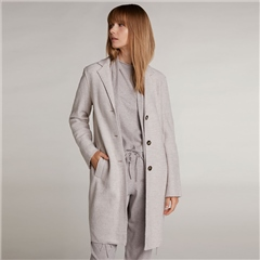 Oui Virgin Wool Longline Coat - Stone
