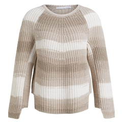 Oui Cotton Blend Chunky Knitted Stripe Jumper - Stone