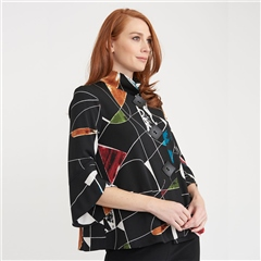 Joseph Ribkoff Abstract Print Flared Jacket - Multi