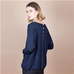 Estheme Cashmere 100% Cashmere Button Back Jumper - Navy