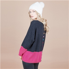 Estheme Cashmere 100% Cashmere Colour Block Button Back Jumper - Denim Lipstick