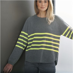 Brodie 'Stripe' 100% Cashmere Scoop Hem Jumper