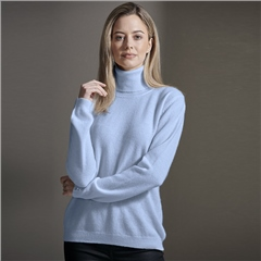 Brodie 100% Cashmere Roll Neck Jumper - Arctic Blue