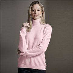 Brodie 100% Cashmere Roll Neck Jumper - Cherry Blossom