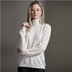 Brodie 100% Cashmere Roll Neck Jumper - Organic White
