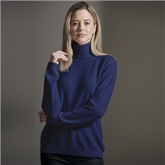 Brodie 100% Cashmere Roll Neck Jumper - Oxford Blue