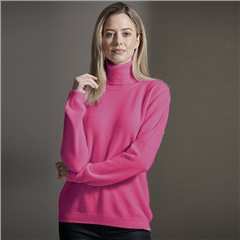Brodie 100% Cashmere Roll Neck Jumper - Soft Berry