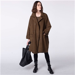 Oska 'Shoho' 100% Cotton Twill Oversized Coat - Alpaca