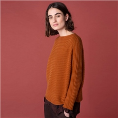 Oska 'Umuck' Virgin Wool/Alpaca Ribbed Jumper - Rooibos