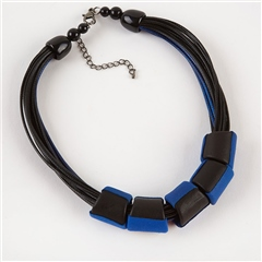 Dante Contrast Beads Cord Necklace - Cobalt
