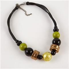 Dante Multi Bead Cord Necklace - Green