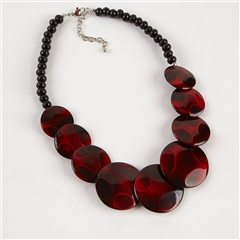 Dante Purple Disc Beads Necklace - Red