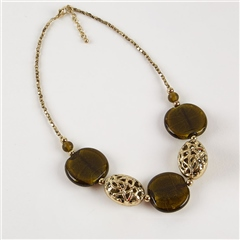 Dante Disc & Filigree Beads Necklace - Green