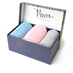Peace Of Mind Metallic Ankle Sock Trio With Gift Box - Denim/Pink/Grey