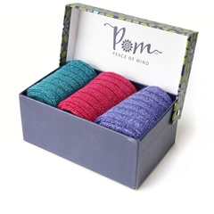 Peace Of Mind Metallic Ankle Sock Trio With Gift Box - Magenta/Teal/Purple