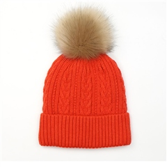 Peace Of Mind Cable Knit Pompom Hat - Orange