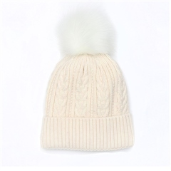 Peace Of Mind Cable Knit Pompom Hat - Oatmeal