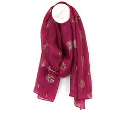 Peace Of Mind Foil Tree Print Lightweight Scarf - Magenta