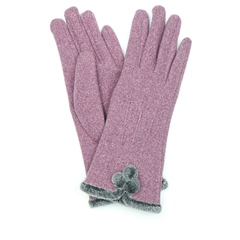 Peace Of Mind Fur & Pompoms Gloves - Mauve