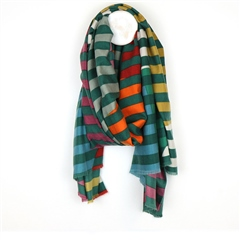 Peace Of Mind Striped Circle Print Scarf - Green
