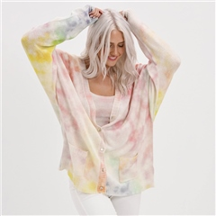 Brodie 'California' 100% Cashmere Oversized Cardigan - White Multi