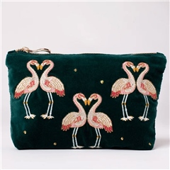 Elizabeth Scarlett Flamingo Velvet Makeup Bag