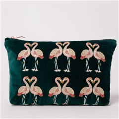Elizabeth Scarlett Kissing Flamingo Velvet Everyday Pouch