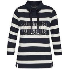 Rabe Embellished Rings Striped Highneck Jumper