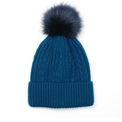 Peace Of Mind Cable Knit Pompom Hat - Teal
