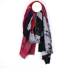 Peace Of Mind Abstract Print Scarf - Pink