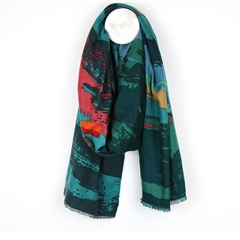 Peace Of Mind Abstract Print Scarf - Teal