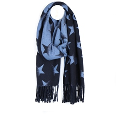 Peace Of Mind Reversible Star Print Scarf - Blue