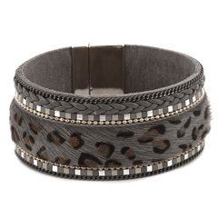 Hill & How Textured Leopard Print Bracelet - Grey