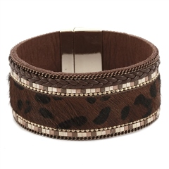 Hill & How Textured Leopard Print Bracelet - Brown
