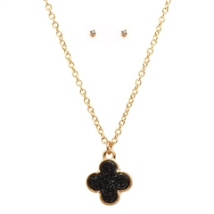 Hill & How Druzy Clover Necklace Set - Black