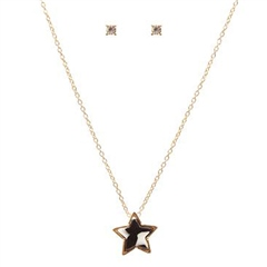 Hill & How Delicate Tortoiseshell Star Necklace Set - Black