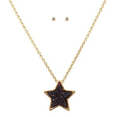 Hill & How Delicate Druzy Star Necklace Set - Navy
