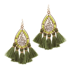Hill & How Beaded Tassel Earrings - Olive