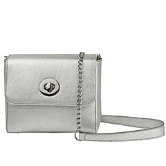 Alison Van Der Lande 'Milly' Metallic Leather Crossbody Bag - Silver