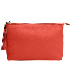 Alison Van Der Lande Leather Clutch Bag - Salmon