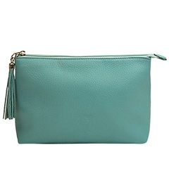 Alison Van Der Lande Leather Clutch Bag - Turquoise