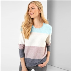 Olsen Colour Block Round Neck Jumper - Winter Mint