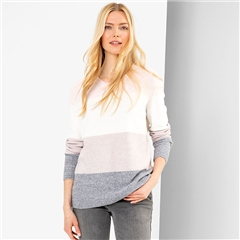 Olsen Colour Block Round Neck Jumper - Rose Blush