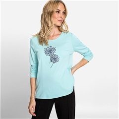 Olsen 100% Cotton Embellished Dandelion Motif T-Shirt