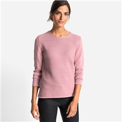 Olsen Cotton Mix Round Neck Ribbed Jumper - Rose Blush