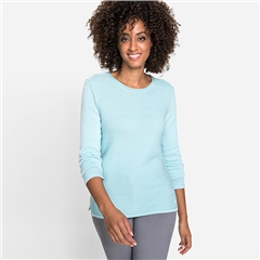 Olsen Cotton Mix Round Neck Ribbed Jumper - Winter Mint
