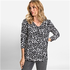 Olsen Abstract Print V-Neck Jumper