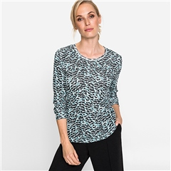 Olsen 100% Cotton Abstract Print Long Sleeve T-shirt