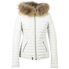 Oakwood 'Happy' Fur Hood Padded Leather Coat - White